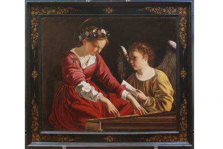 Santa Cecilia che suona la spinetta e un angelo